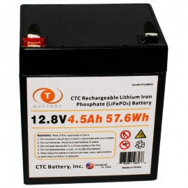 12.8 Volt 4.5 ah LiFePO4 Lithium Iron Phosphate Battery w/ BMS