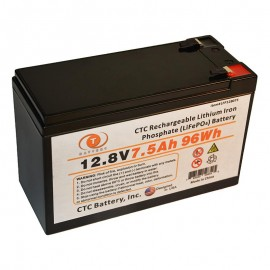 12.8 Volt 7.5 ah LiFePO4 Lithium Iron Phosphate Battery w/ BMS
