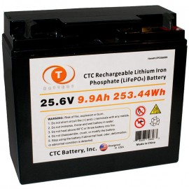 25.6 Volt 10 ah LiFePO4 Lithium Iron Phosphate Battery w/ BMS