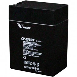 CP6140T Sealed AGM 6 volt 14 ah Vision Battery F1-F2 terminals