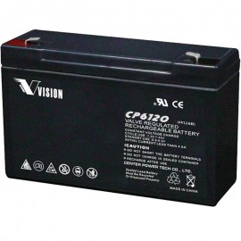 S CP6120 SLA 6 volt 12 ah AGM Vision Battery F1 .187 terminals