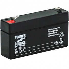 WP1.3-6 Sealed AGM Battery 6 volt 1.4 ah Power Source