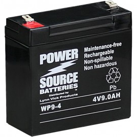WP9-4 Sealed AGM Battery 4 volt 9 ah Power Source