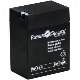 WP13-6 Sealed AGM Battery 6 volt 13 ah Power Source T1/T2 terminals