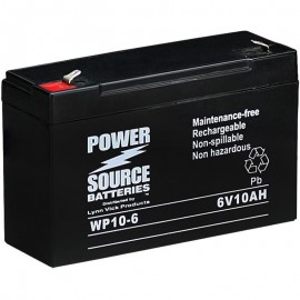 WP10-6 Sealed AGM Battery 6 volt 10ah Power Source T1 .187 terminals