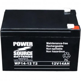 WP14-12 T2 Sealed AGM Battery 12 volt 14 ah Power Source .250 term