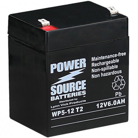 WP5-12 Sealed AGM Battery 12v 6 ah Power Source T2 .250 terminals
