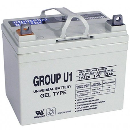 U1 GEL replaces Invacare 12 Volt 31 ah INVU1GEL Wheelchair Battery