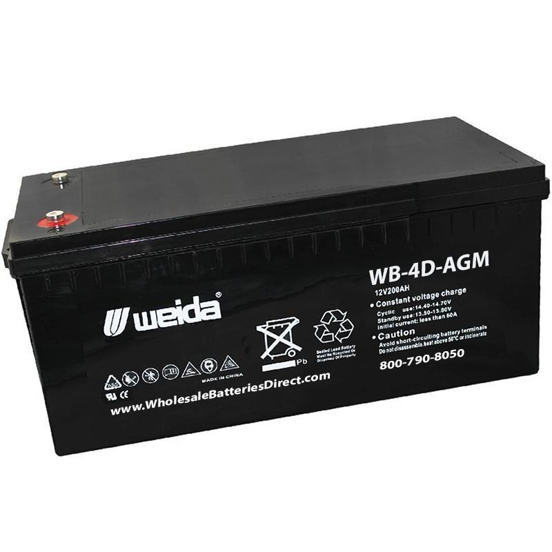 wb 4d agm sla 4d 12v 200ah internal threads weida battery. Black Bedroom Furniture Sets. Home Design Ideas