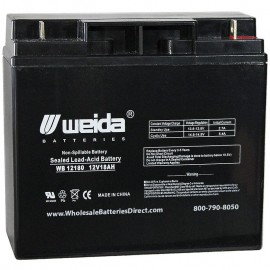 WB12180 Nut & Bolt terminals Sealed AGM 12 volt 18 ah Weida Battery