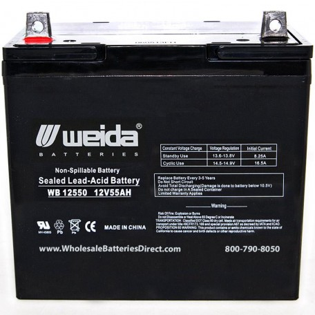 WB12550 Sealed AGM 22NF Battery 12 volt 55 ah Weida