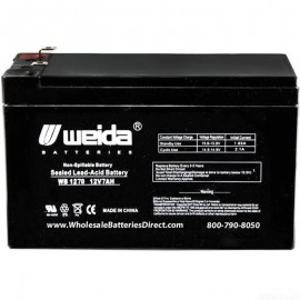WB1270 F1 Sealed AGM Battery 12v 7ah Weida .187 terminals