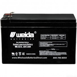 WB1272 F2 Sealed AGM Battery 12v 7.2ah Weida .250 terminals