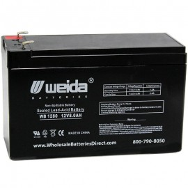 WB1280 F2 Sealed AGM 12 volt 8 ah Weida Battery .250 terminals