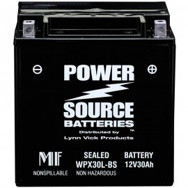 WPX30L-BS 30ah Battery replaces Parts Unlimited 2113-0107, YIX30L-BS