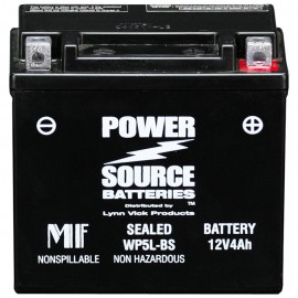 Power Source WP5L-BS Sealed AGM 80cca Motorcycle Battery