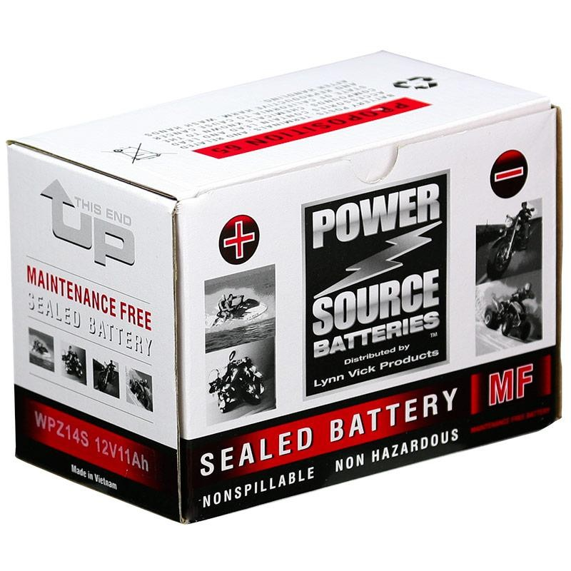Power Source WPZ14S Sealed AGM 250cca Motorcycle Battery
