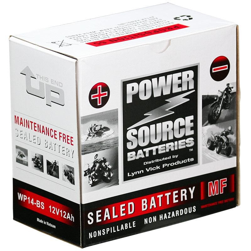 Power Source WP14 BS Sealed AGM 210cca Motorcycle Battery