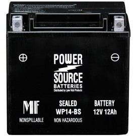Power Source WP14-BS Sealed AGM 210cca Motorcycle Battery Harley
