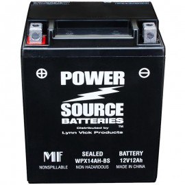 Power Source WPX14AH-BS Sealed AGM 210cca Motorcycle Battery