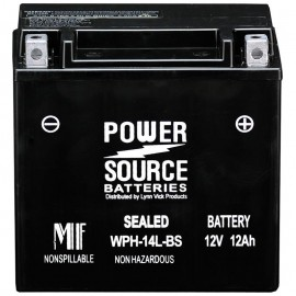 Power Source WPH14L-BS Sealed AGM 210cca Motorcycle Battery