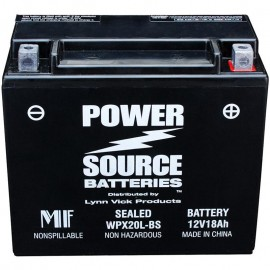 Power Source WPX20L-BS Sealed AGM 375cca Motorcycle Battery