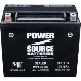 Power Source WPX20-BS Sealed AGM 375cca Motorcycle Battery