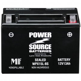 Power Source WPX15L-BS Sealed AGM 300cca Motorcycle ATV Battery