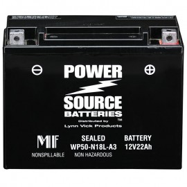 Power Source WP50-N18L-A3 Sealed AGM 350cca Motorcycle Battery