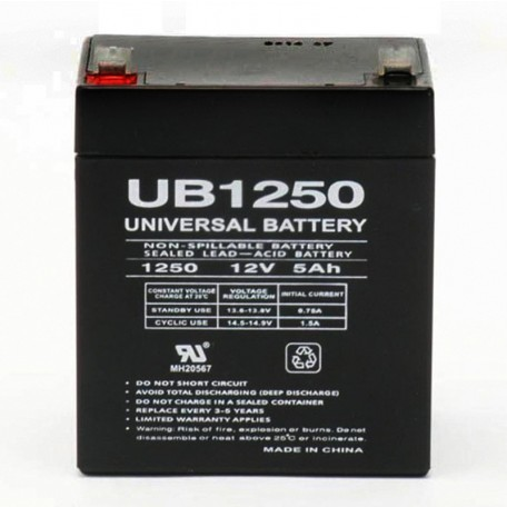 12 Volt 5 ah Fire Alarm Battery replaces 12v 5ah Power-Sonic PS-1250