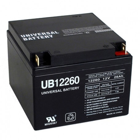 12 Volt 26 ah Fire Alarm Battery replaces 24ah Cooper Wheelock BAT1224