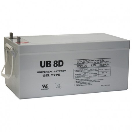 12 V, 250 Ah Group 8D Deep Cycle GEL RV Recreational Battery UB-8D