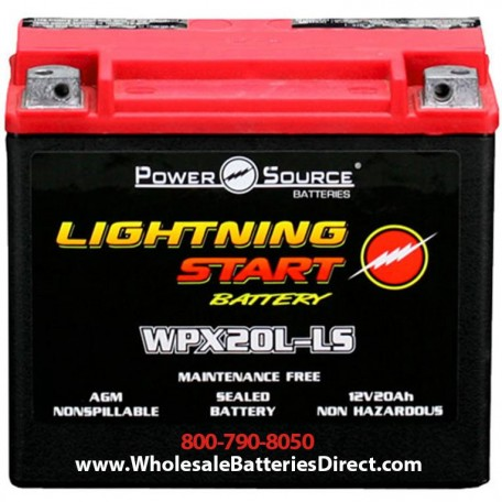 Lightning Start WPX20L-LS Power Source Sealed AGM 500cca 20a Battery