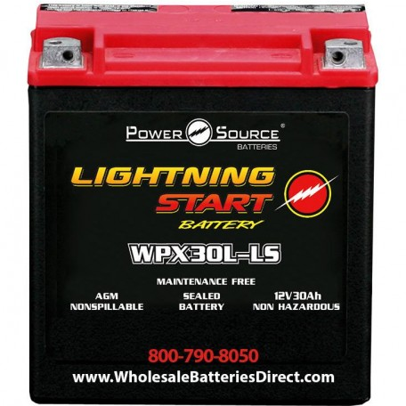 Lightning Start WPX30L-LS Power Source Sealed 600cca 30ah Battery
