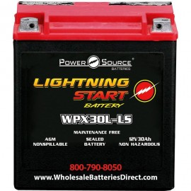Lightning Start WPX30L-LS Sealed 600cca Harley Motorcycle Battery