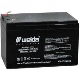 WB12140 Sealed AGM Battery 12 volt 14 ah Weida F2 .250 term