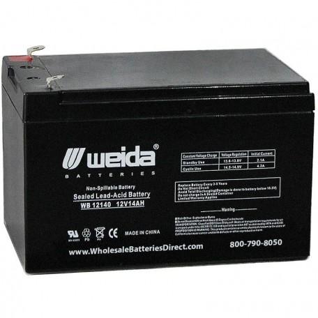 WB12140 Sealed AGM Battery 12 volt 14 ah Weida F2 .250 term