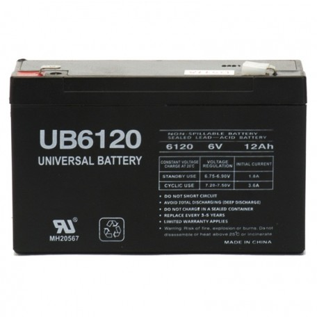 6 Volt 12 ah UPS Battery replaces Power-Sonic PS-6100 F2, PS6100 F2