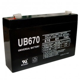 6 Volt 7ah UB670 UPS Battery replaces 7.2ah Fiamm FG10721, FG 10721