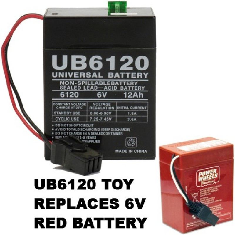 6 Volt Ride-On Toy Battery replaces Power Wheels Walmart 74522