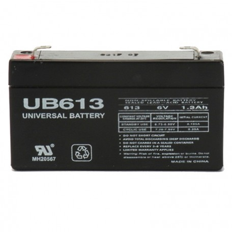 6 Volt 1.3 ah UB613 Emergency Lighting Battery replaces 1.2ah
