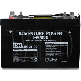 12 V, 110 Ah Group 30H or 31 Deep Cycle AGM Marine Battery
