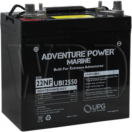 12 V, 55 Ah 22NF Deep Cycle AGM Marine Battery