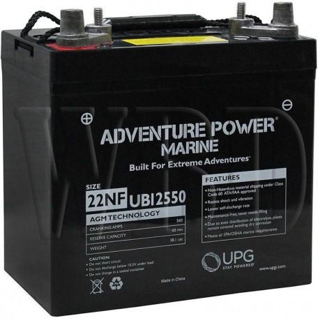 12 V, 55 Ah 22NF Deep Cycle AGM Marine Battery