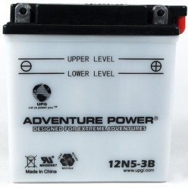 Adventure Power 12N5-3B (12V, 5AH) Motorcycle Battery
